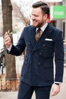 2017 последние конструкции пальто брюки Темно синие вельвет двубортный мужской костюм Slim Fit Тощий 2 шт. пользовательские смокинг Терно masculino