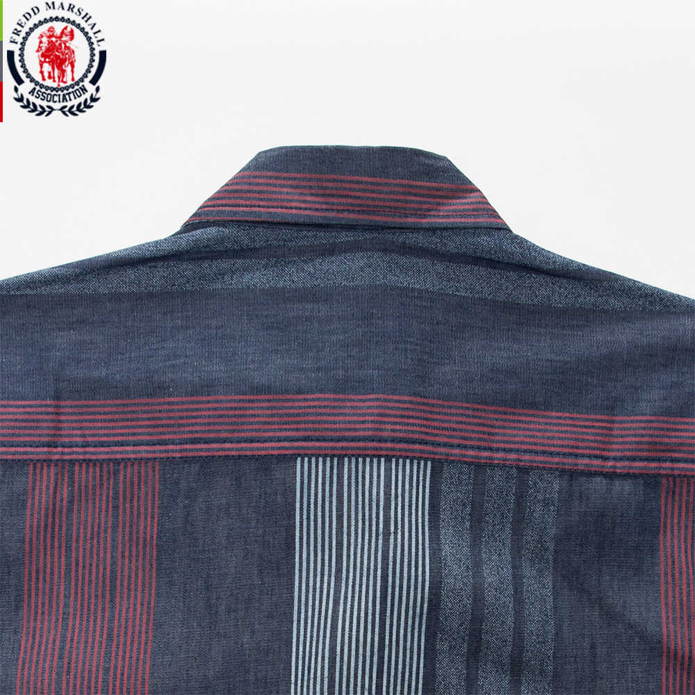 9de2819c41 ... Fredd Marshall 2017 winter fashion mens long sleeve vintage dress  shirts casual striped patchwork cotton shirt ...