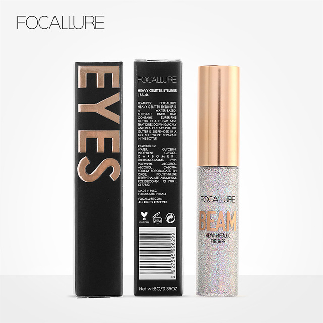 FOCALLURE 5 colors professional Eyeliner waterproof Glitter easy to wear eye liner colorful Quick dry liquid eyeliner 5