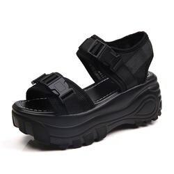 Новые Босоножки на платформе 8 см, женская обувь на высокой танкетке, женская кожаная парусиновая Летняя обувь с пряжкой, zapatos Mujer, шлепанцы