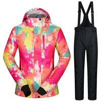 SALE Black White Winter Suit Jacket Female Pants Waterproof Woman Snow Suit 20 30 Deegree Thermal