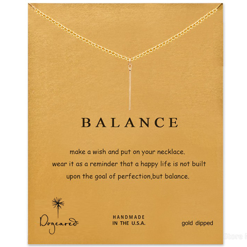 Fashion Wish Card Balance Bars Pendant Necklace Clavicle Chains Fashion Statement Exquisite Necklace For Women Gifts Jewelry image