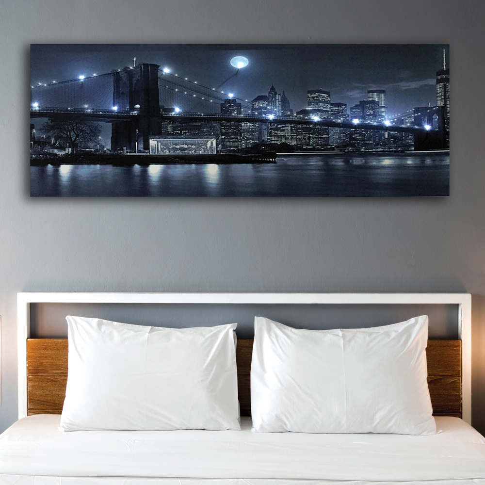 Led wall picture Black and white Brooklyn Bridge with city night moon canvas art image light up HD painting artwork print framed