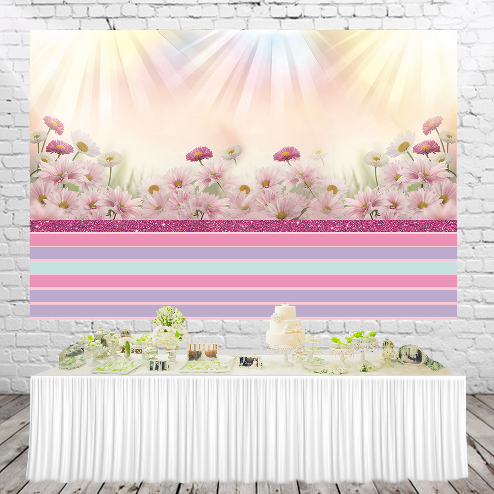 Huayi Purple Striped Backdrop Pink Floral Background Girl Baby