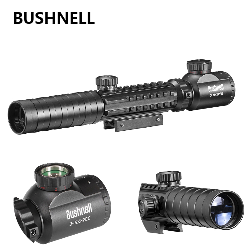 BUSHNELL B 3-9x32 EG Hunting Scope Red /Green Dot Illuminated Sight Tactical Sniper Scopes w 11mm/22mm For Air Gun mossy oka lb 3 9x32 hunting scopes tactical riflescope sniper scope outdoor tactical hunting gun with 11 20mm mount