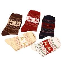 Snowflake Deer Retro Cotton Casual Women Warm Socks Ladies Female Men Christmas sock Gift Hosiery Rabbit Wool Girl Birthday Gift