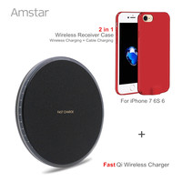 Amstar Fast Qi Wireless Charger Qi Charger 10W Wireless Charging Pad + Qi Wireless Charger Receiver Case for iPhone 7 6S 6 Plus