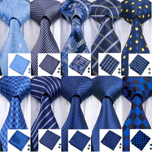 Barry.Wang 2018 Designer Ties For Men Blue Woven Neckties