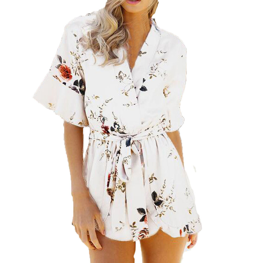 Free Ostrich 2019 Summer Flower print   Jumpsuits   Rompers Chiffon Womens Fashion Sexy V-Neck Mono Print Summer Sashes D1135