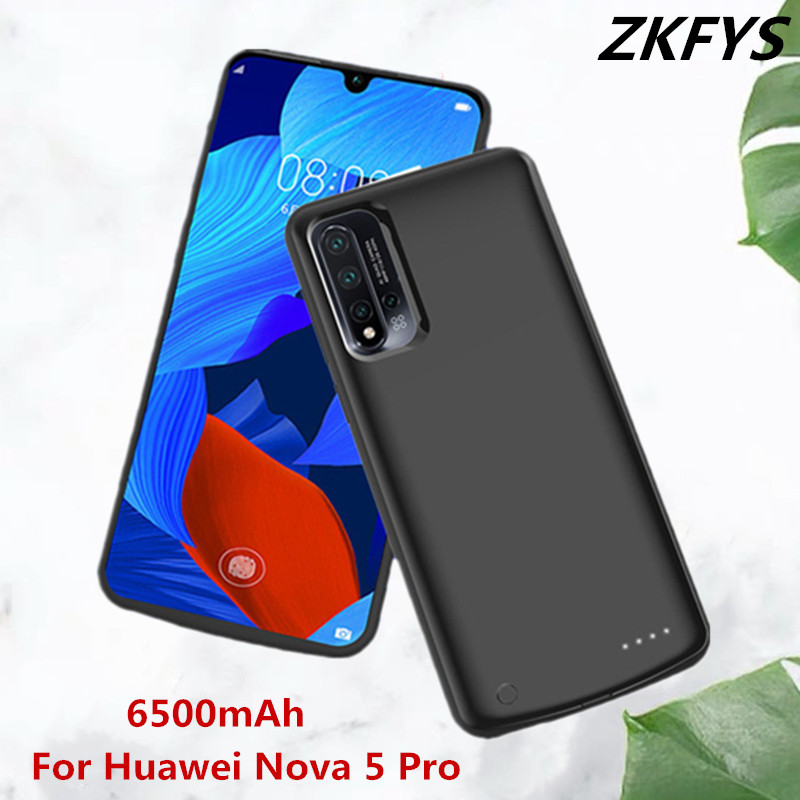 ZKFYS For Huawei Nova 5 Pro Ultra Thin Power Case 6500mAh High Quality External Battery Charger Case Power Bank Charging Cover in Battery Charger Cases from Cellphones Telecommunications
