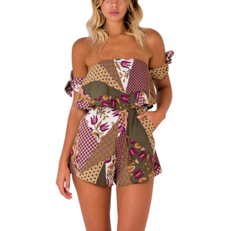 Women Summer Holiday Sexy Slash Neck Printed Mini Playsuit Ladies Floral Jumpsuit Beach Wear Female Rompers
