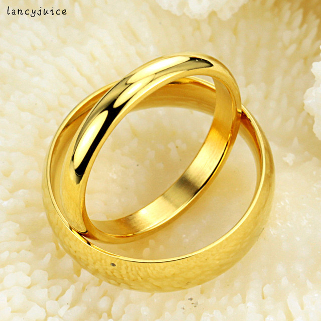 Gold Glossy Circle Simple Couple Rings New Free Shipping 316L