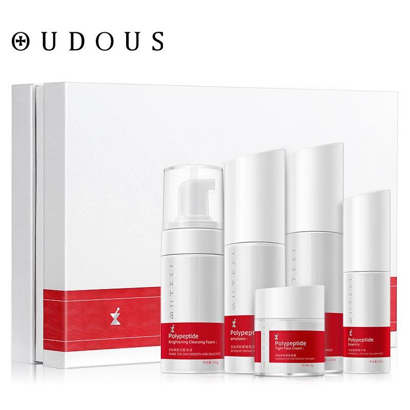 5 pièces Peptide humidité soin du visage ensemble Toner & Lotion & crème de jour & Essence & crème visage Anti-âge réparation blanchissant soins infirmiers ensemble du visage