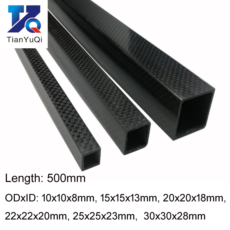 TianYuQi  1pcs 3K Full Carbon Fiber Square Tube High Strength Length 500mm OD 10mm 15mm 20mm 22mm 25mm 30mm Glossy Surface