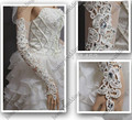 Luxury Long White / Ivory Wedding Gloves With Lace Appliques Rhinestone Beaded Fingerless Hot Sale Wedding Accessories In Stock