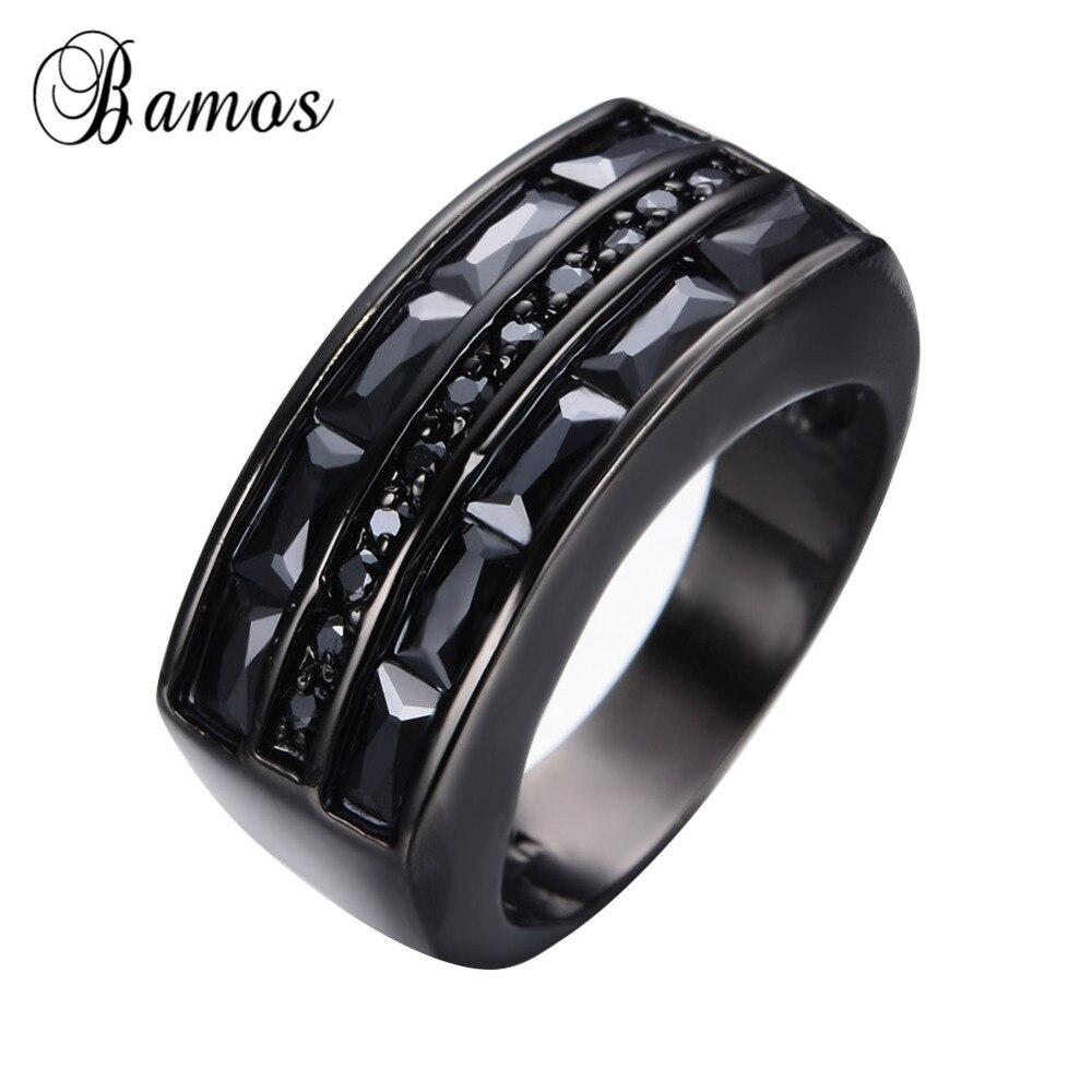 Promotion Black Men Antique Ring Black Gold Filled Cz Finger Rings For  Female Male Wedding Party