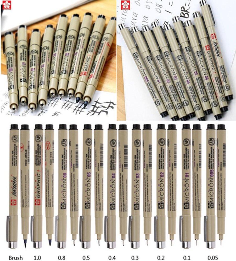 Profession Drawing Ink Pens 8Pcs & 1*Brush Micron Fine Liner Art Supplies Set