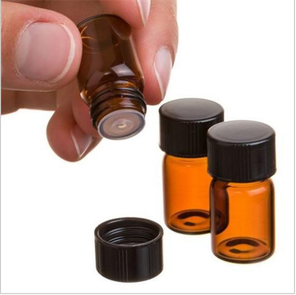 Super Deal 10 pieces 1 ml Amber Glass Essential Oil Bottle with Orifice Reducer and cap image