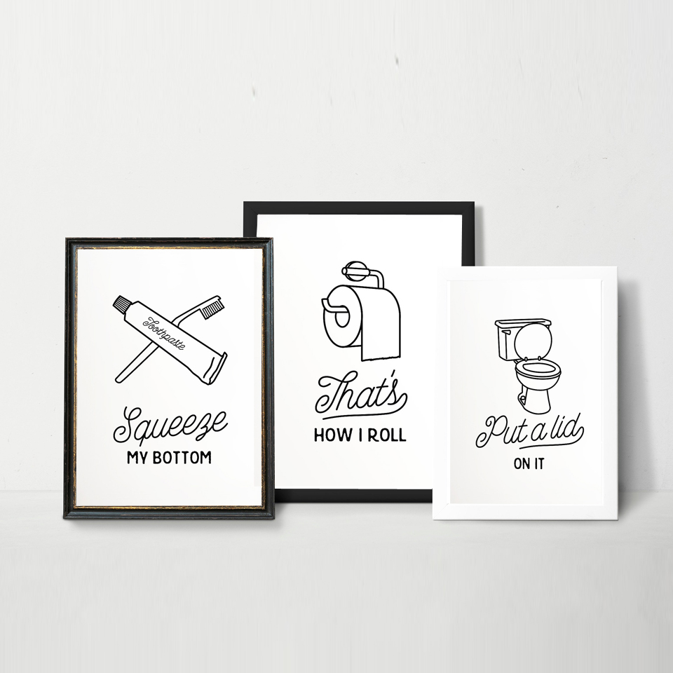 Toilet Wall Art Canvas Painting Black White Funny Bathroom Sign Poster Print Toilet Humour Kids Wall Picture Bathroom Home Decor Painting Calligraphy Aliexpress
