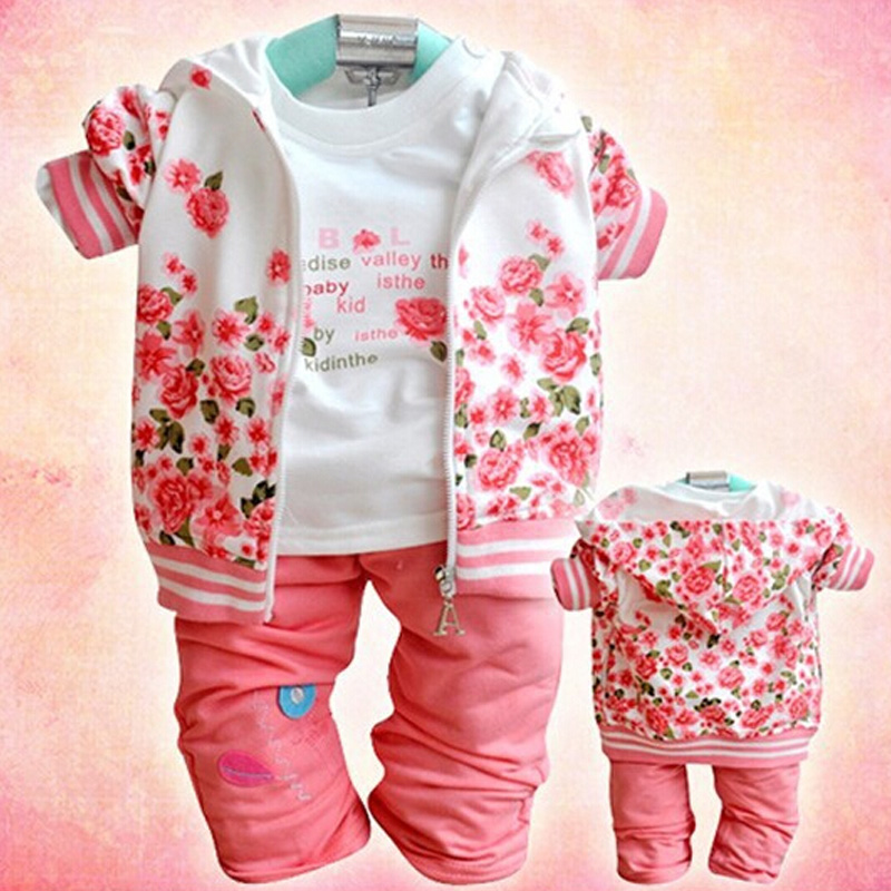 Autumn Fashion Children Girls Clothing Sets Long Sleeve Kids Clothes Sports Suit for Girls jacket +shirt+pant 3-Piece Suit Set