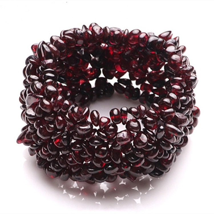 New Natural Garnet Bracelet Gravel Single Circle Crystal Bracelets Lucky Color Crystal Fashion Jewelry Gift For Women Men