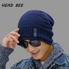 [HEAD BEE] Brand 2018 Beanies Hat Cotton Men Cap Skullies Winter Knitted Warm Adult Bonnet