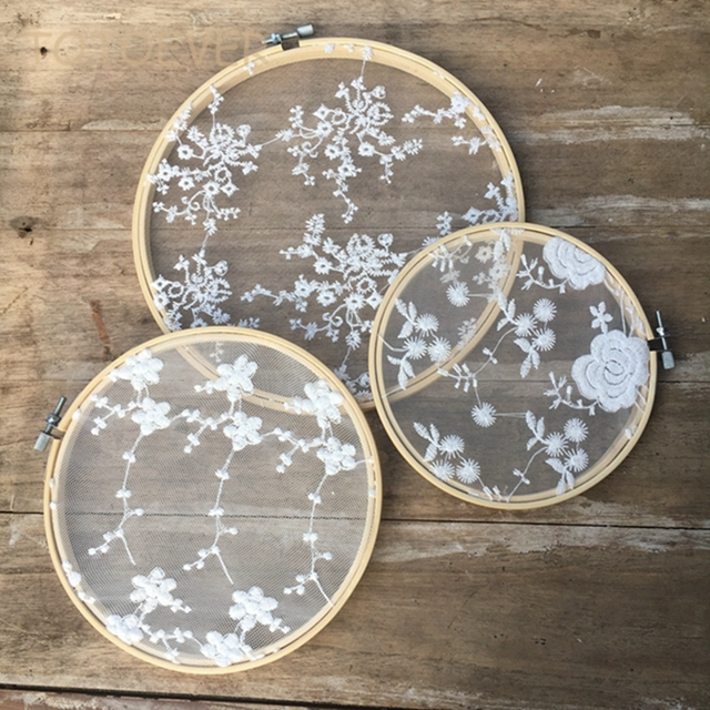 3pcs/set Vintage Cotton Embroidery White Lace Hoops Set Bamboo Rustic Wedding Hanging Decoration Lace Wedding Ideas Backdrops