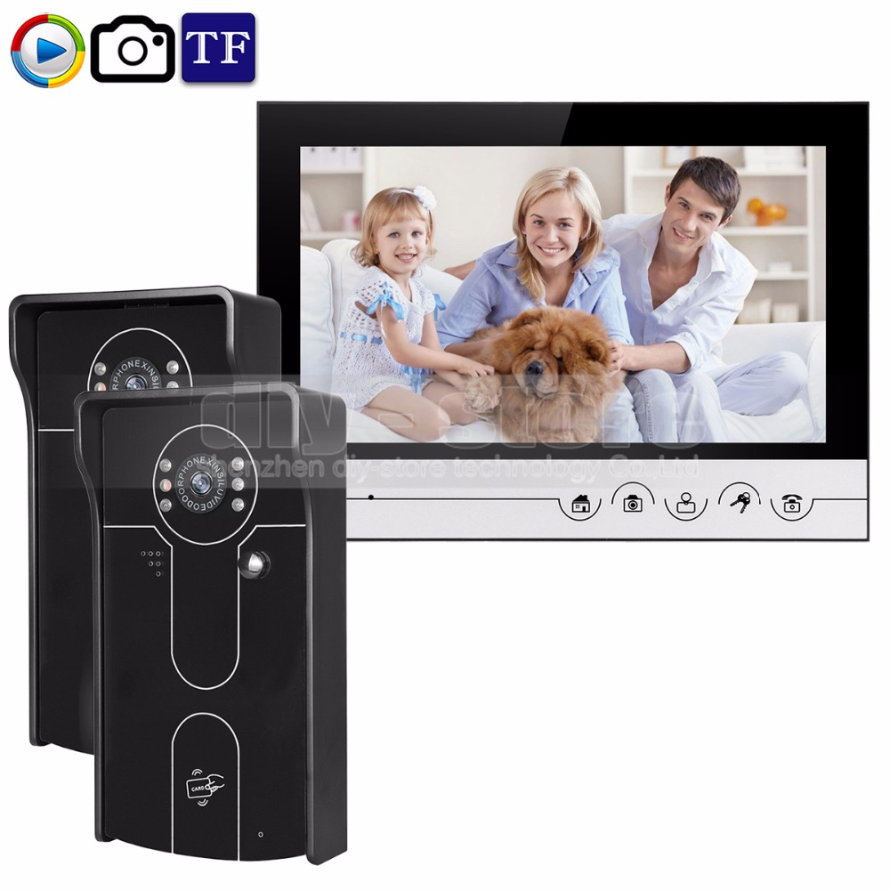 DIYSECUR 9inch Video Record/Photograph Video Door Phone Doorbell Waterproof HD RFID Camera Home Security Intercom System 2V1 home use 9 inch color tft monitor 8gb sd card video record door phone doorbell intercom system ir camera for apartment security
