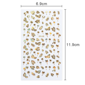 Image 4 - 1 Sheet  Gold 3D Nail Sticker Coconut Tree Leaf Holo Flower Laser Adhesive Decal Sticker  Nail Art Decal