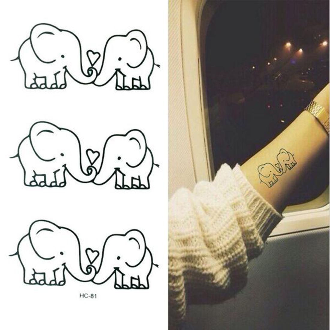Waterproof Elephants Temporary Tatoo Sticker Tatto Water Transfer Fake Tattoo Body Makeup For Men Girl