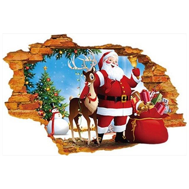 Kindergarten Weihnachten.Us 6 29 Segnen Weihnachten Santa Claus Durch Wand In Kinderzimmer Vinyl Aufkleber Fur Home Kindergarten Shop Dekoration Poster Tapete 70 50 Cm In