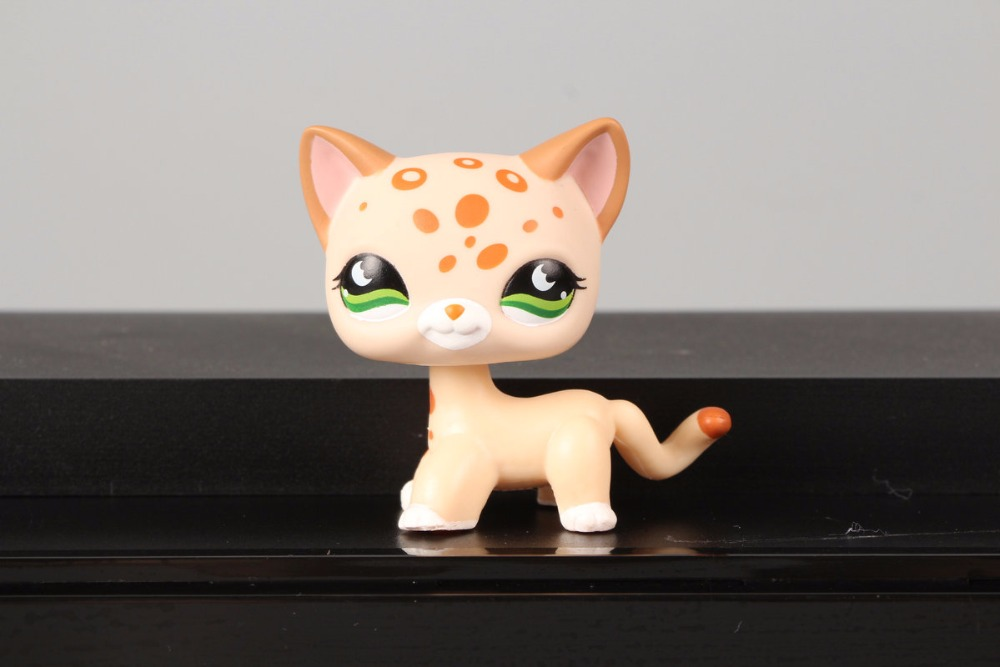 New Pet Collection Figure LPS 852 Tan Spotted Leopard Cheetah Green Bat Eyes Kids font b