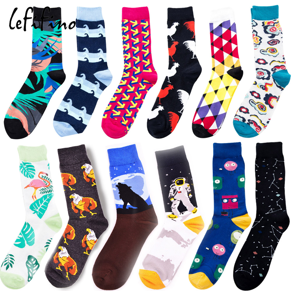 Self-Conscious Casual Colorful Men Socks Cotton Happy Funny Socks Novelty Male Dress Socks Wedding Space Astronaut Constellation Socks Ne74830 Promote The Production Of Body Fluid And Saliva Men's Socks