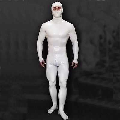 Latex Suit Rubber Fashion Man White Full-body Catsuit With Hood Size XXS~XXL