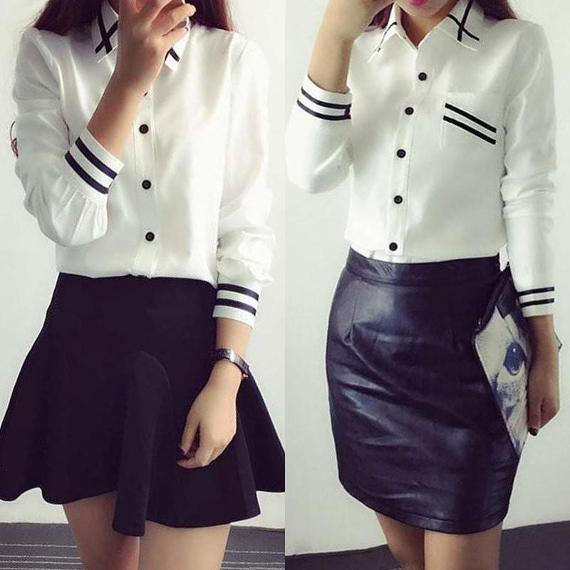 HTB1840eNXXXXXacaFXXq6xXFXXX0 - Fashion Ladies Office Shirt White Blue Tops Formal