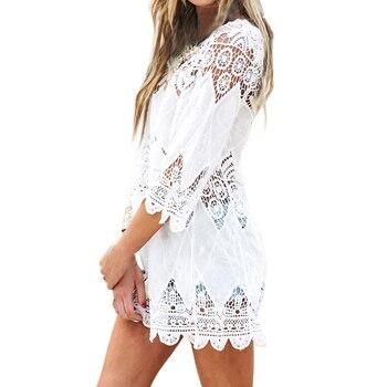 New Summer Swimsuit Lace Hollow Crochet Beach Bikini Cover Up 3/4 Sleeve Women Tops Swimwear Beach Dress White Beach Tunic Shirt 3