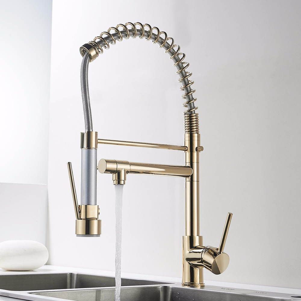 FLG Kitchen Faucet Golden Finish Hand Sprayer Spring Style Single Handle 360 Degree Rotating Cold Hot Water Mixer Sink Tap 2087G