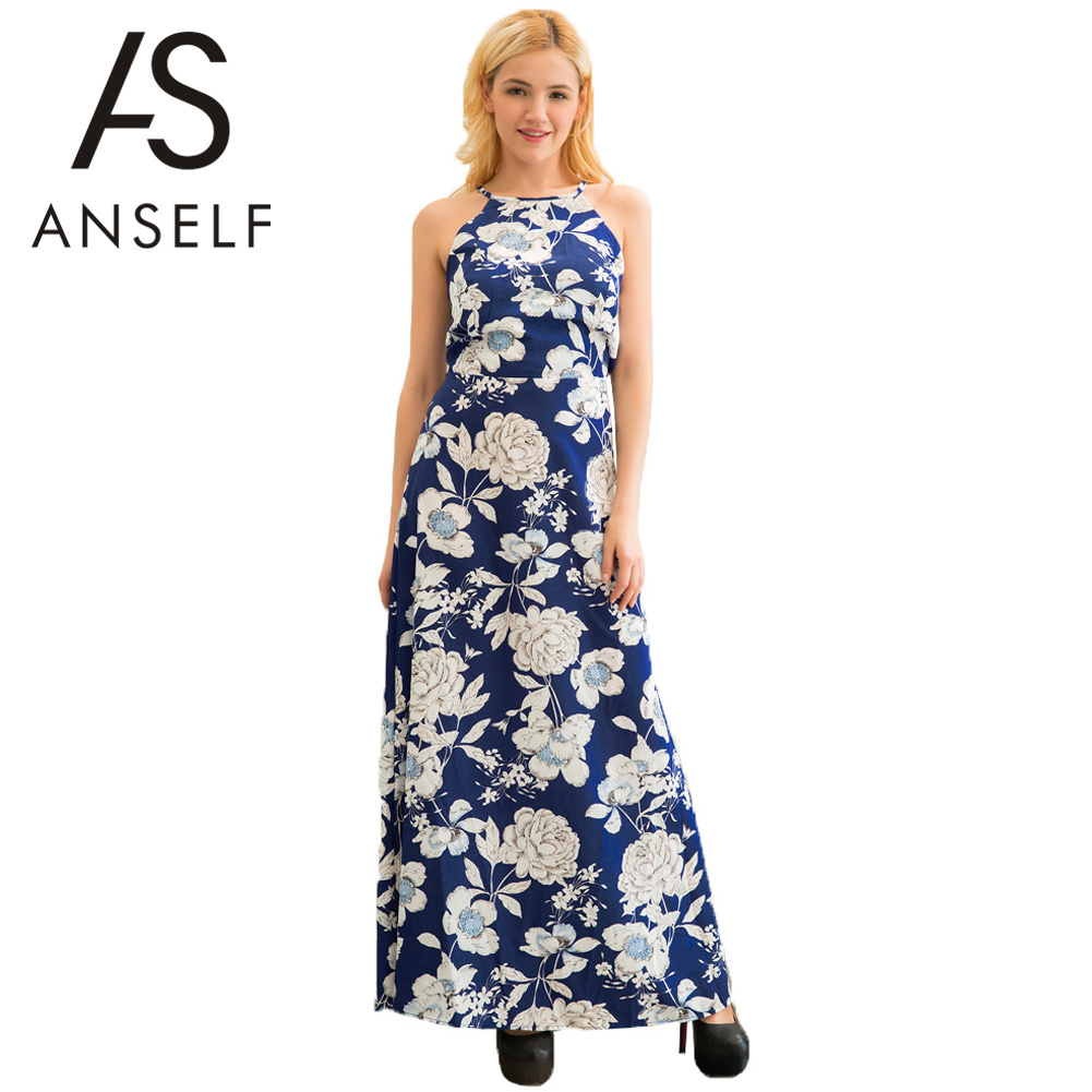 ANSELF XXXL 5XL Elegant Women Plus Size Dress Floral Print Long Maxi Dress  female Sexy Off b6cf51403b76