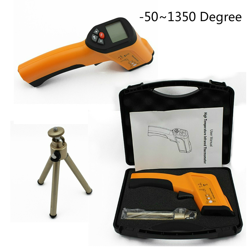-50~1350 Degree Digital Thermometer Big Discount Non-Contact K Probe Pyrometer High Temperature Tester IR Infrared Termometro holdpeak hp 1320 digital laser infrared ir thermometer gun meter non contact 50 1500c temperature tester pyrometer