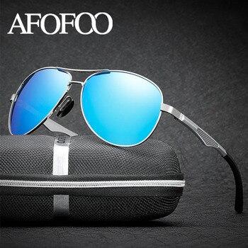AFOFOO Brand Polarized Sunglasses Aluminum Magnesium+ Alloy Men Driving Coating Sun Glasses Eyewear UV400 Shades gafas de sol