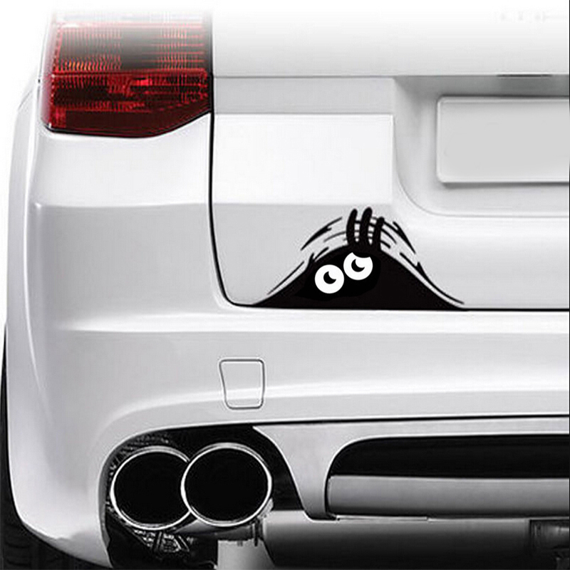 Car Styling Accessories Reflective Waterproof Fashion Funny Peeking Monster Car Sticker vinyl decal decorate sticker grey plain ripped details one shoulder playsuits with belt