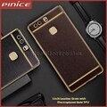Para huawei p8 lite case moldura de ouro do chapeamento de luxo lichia couro de grão tampa do telefone tpu macio para p9 p9 lite plus mate 8 9