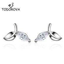 Todorova Elegant Leaves Earrings for Women Girls Dazzling CZ Cubic Zircon Stud Brincos Fashion Jewelry oorbellen