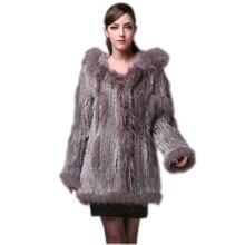HARPPIHOP мех женское вязаное пальто из натурального кроличьего меха/куртка/верхняя одежда с капюшоном женский длинный пояс с кисточками