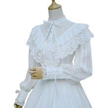 Королевская винтажная женская шифоновая блузка в готическом стиле с длинными рукавами-фонариками с оборками