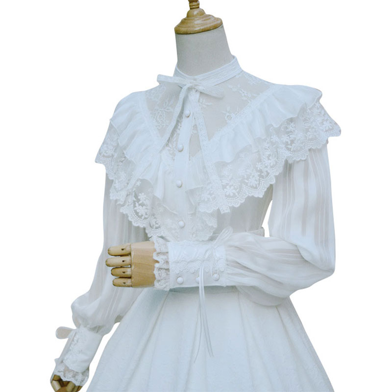 Royal Vintage Illusion Neck Women's Chiffon Blouse Gothic Sheer Långt Lantern Sleeve Blouse With Ruffles