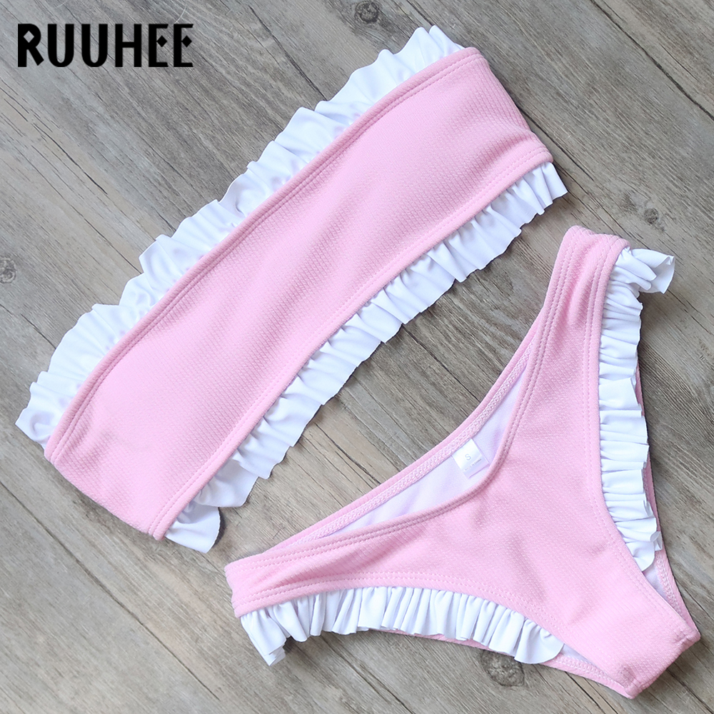 RUUHEE Solid Bikini Swimwear Women Swimsuit Sexy Bandeau Bikini Set Sweet Ruffle Bathing Suit Push Up 2018 Swimsuit Beachwear zaful sexy swimwear women gold stamping bathing suit bikini set swimsuit strapless padded push up bandeau summer beachwear