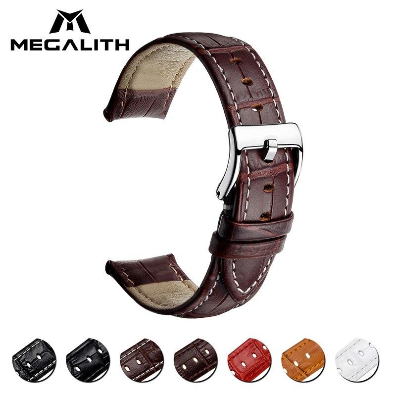 MEGALITH Dark Brown Genuine Leather Watchband Men Women Watches Strap 16mm 18mm 20mm 22mm Watch Accessories Relogio Wristbands