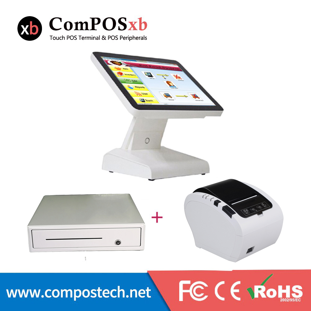 Punto del sistema di vendita pos doppio display pos terminale dual screen all in one sistema epos con stampante cash box
