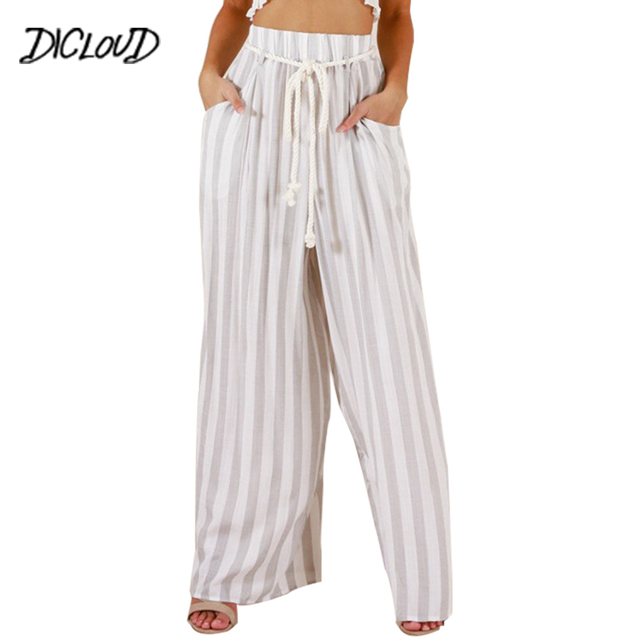 DICLOUD Boho Lace High Waist   Wide     Leg     Pants   Woman Fashion Printed Striped Loose Trousers 2018 Simple Plus Size Casual Capris